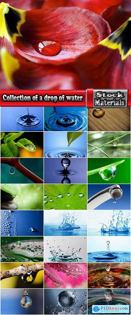 Collection of a drop of water flower 3d illustration of a planet nature liquid 25 HQ Jpeg