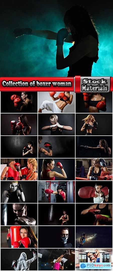 Collection of boxer woman kickboxing gloves ring boxing bag 25 HQ Jpeg