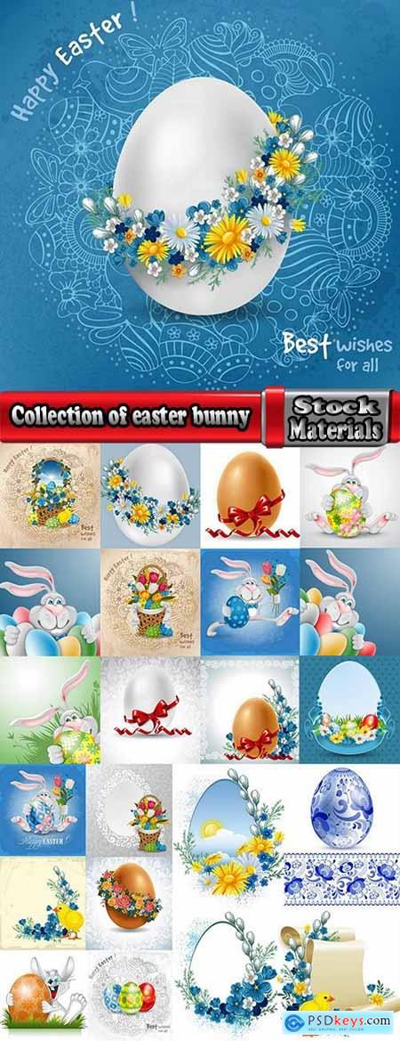 Collection of easter bunny egg flyer banner sticker label invitation card 3-23 EPS