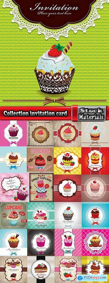 Collection invitation card greeting sweetness cake flyer banner cover 25 EPS