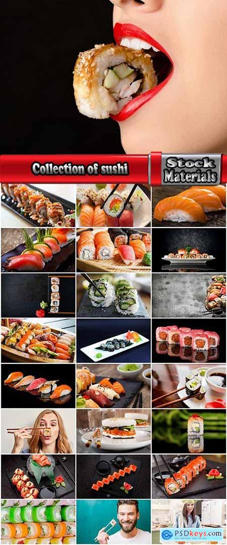 Collection of sushi rice seafood sauce with wasabi caviar 2-25 HQ Jpeg