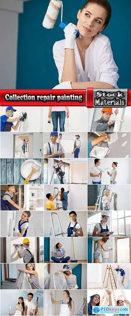 Collection repair painting the walls facing the roller brush paint 25 HQ Jpeg