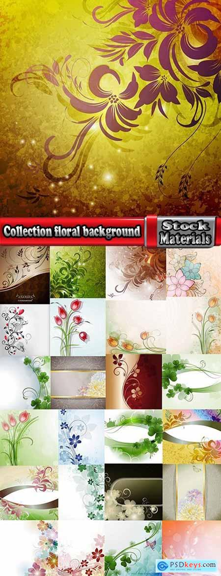 Collection floral background is plant flower prints on wallpaper pattern fabric 2-25 EPS