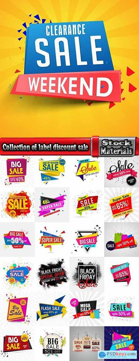 Collection of label discount sale sticker logo frame border card 14-25 EPS