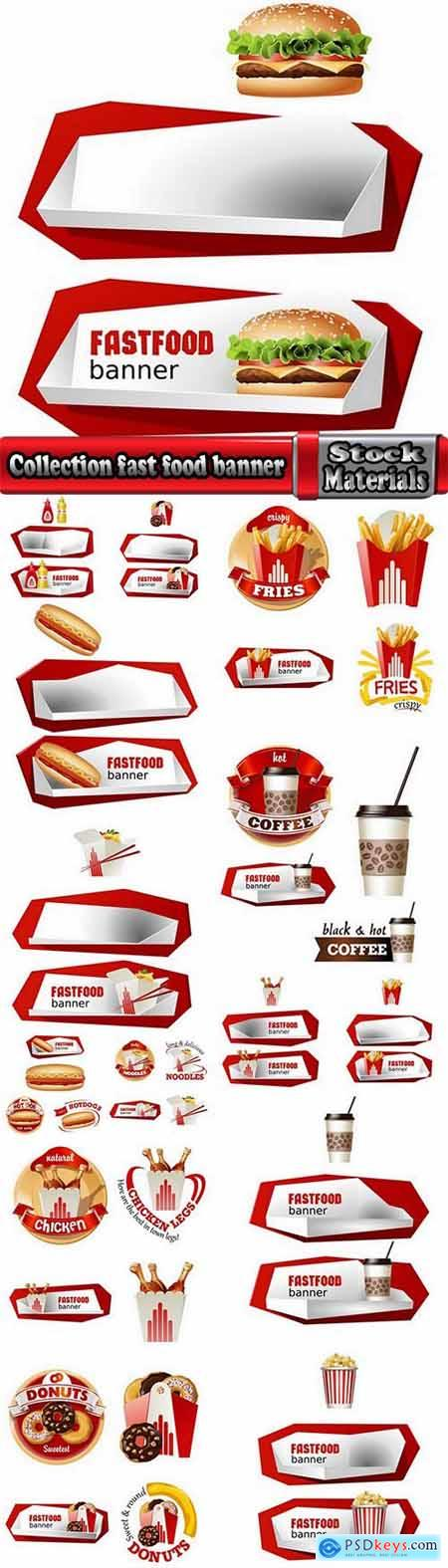 Collection fast food banner pointer plate fried potatoes burger drink 15 EPS