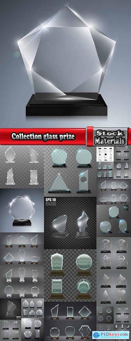 Collection glass prize trophy cup award stand advertising stand 25 EPS