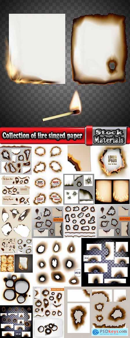 Collection of fire singed paper sticker label sticker burning ash 24 EPS