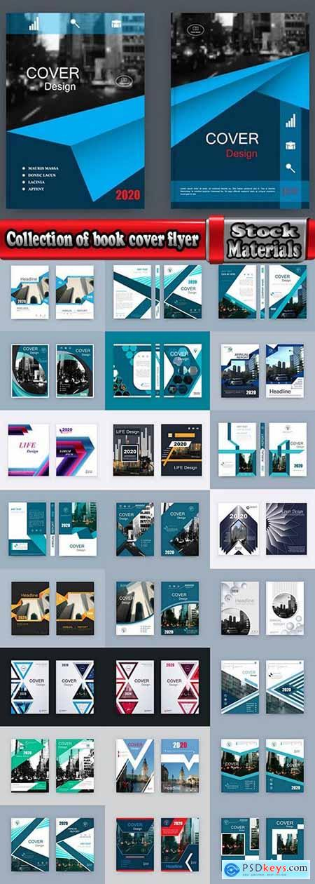 Collection of book cover flyer magazine booklet with infographics vector image 3-25 EPS