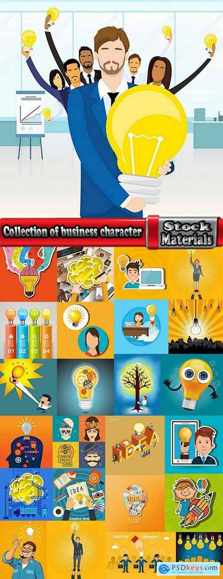 Collection of business character computer workplace successful business suit 3-25 EPS