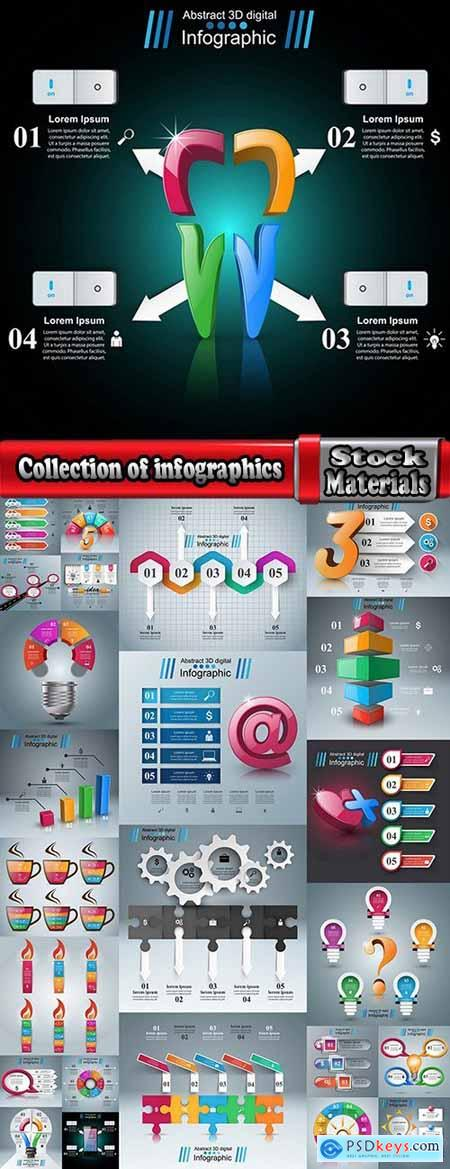 Collection of infographics idea light bulb turn based strategy for business success 4-25 EPS