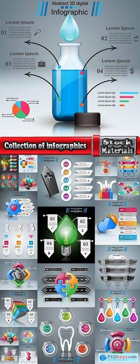 Collection of infographics idea light bulb turn based strategy for business success 5-25 EPS