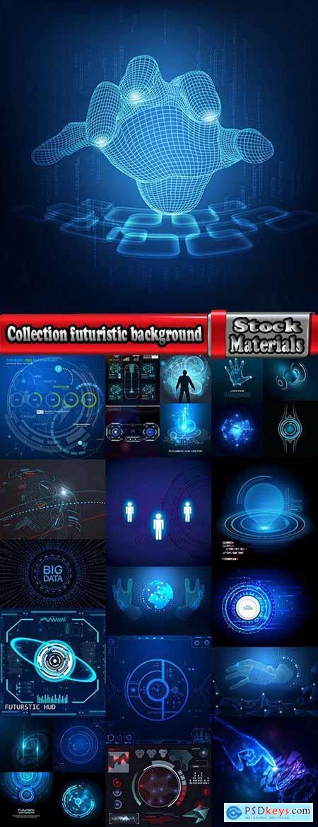 Collection futuristic background interface desktop web site template example vector image 25 EPS