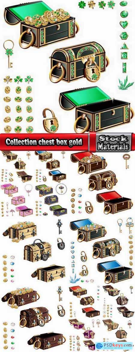 Collection chest box gold key icon for illustration book 13 EPS