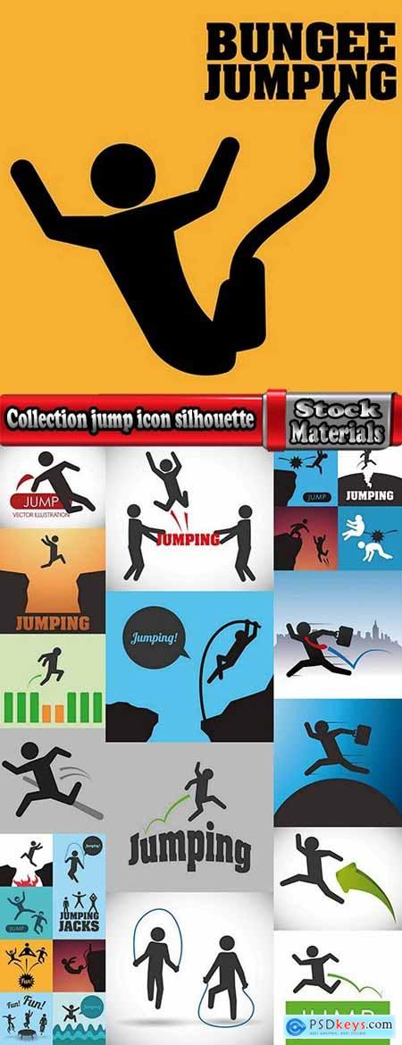 Collection jump icon silhouette cartoon vector picture 25 EPS