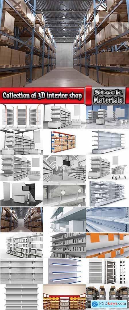 Collection of 3D interior shop showcase stand rack shelf products 2-25 HQ Jpeg