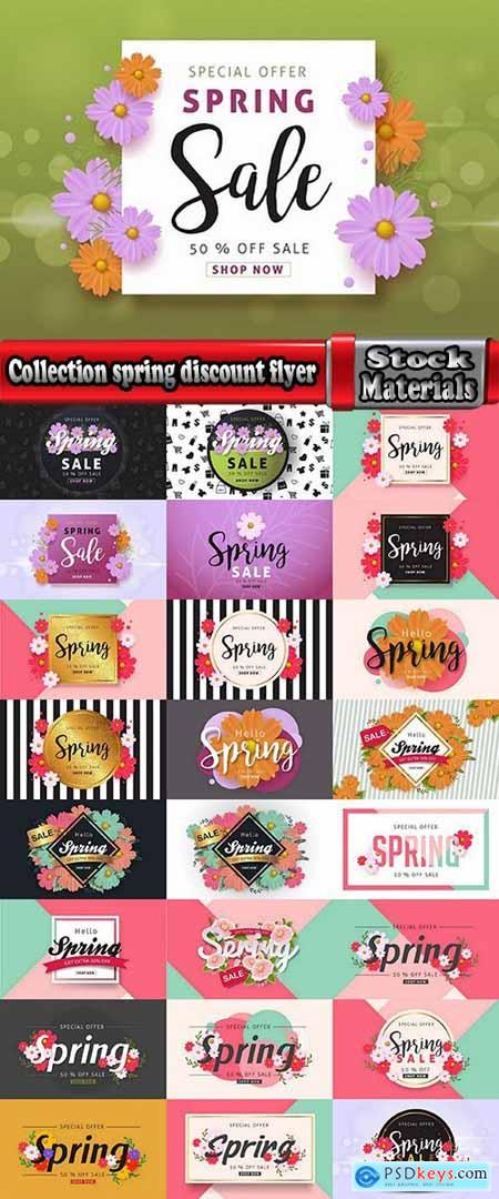Collection spring discount flyer banner sale invitation card 25 EPS
