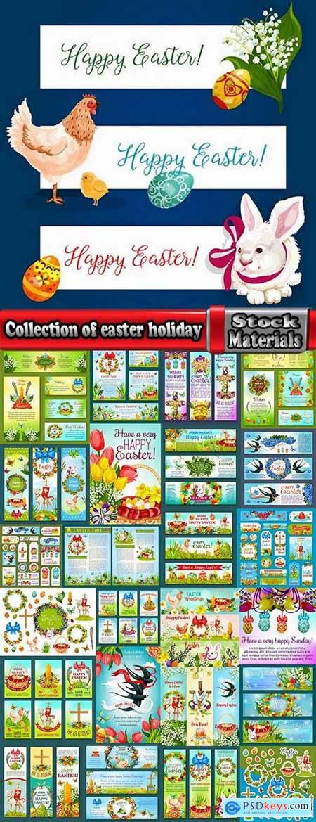 Collection of easter holiday egg rabbit sticker banner flyer happy tidings 25 EPS