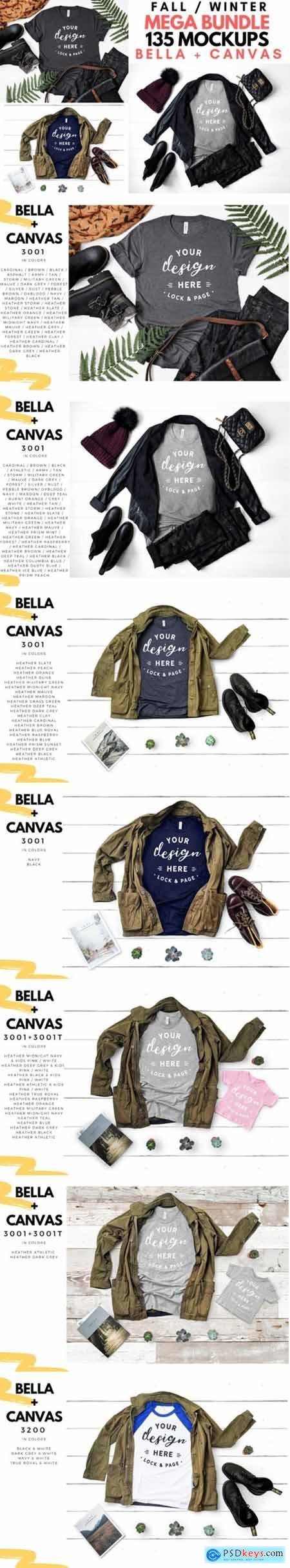 Bella Canvas Fall Winter T-Shirt Mockups