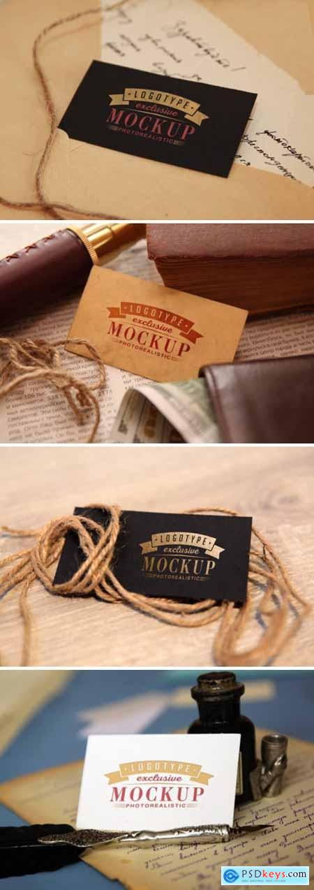 Realistic Mock-ups on Vintage Background