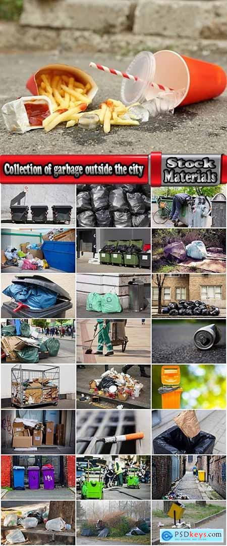 Collection of garbage outside the city dirty garbage container 25 HQ Jpeg