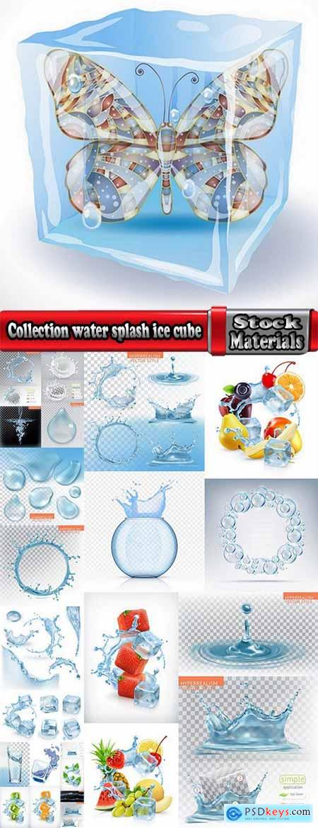Collection water splash ice cube background is water droplet a splash of vector image 25 EPS