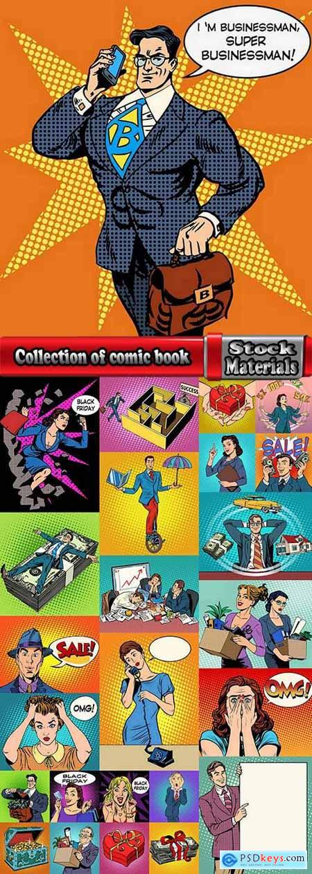 Collection of comic book illustration banner flyer 3-25 EPS