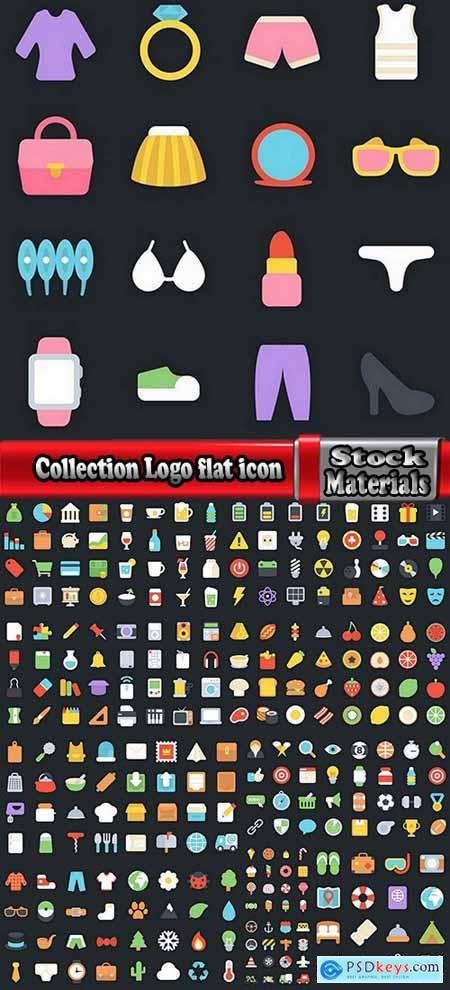 Collection Logo flat icon web design element site 80-18 EPS