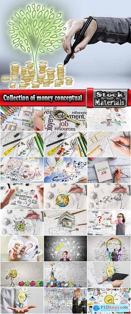 Collection of money conceptual illustration of the success of the business strategy plan 25 HQ Jpeg