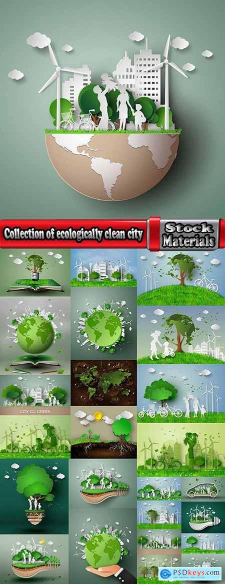 Collection of ecologically clean city green planet clean air alternative fuel family a planet 25 EPS