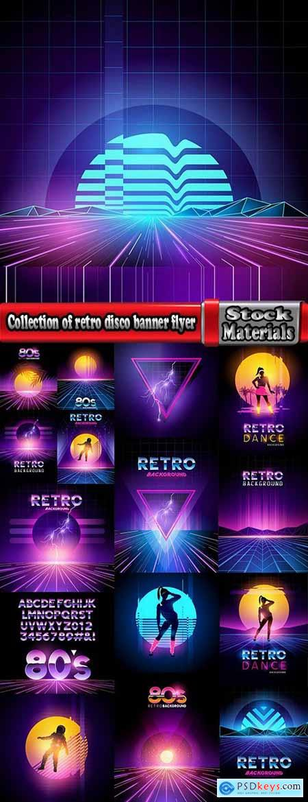 Collection of retro disco banner flyer invitation 80 years 16 EPS