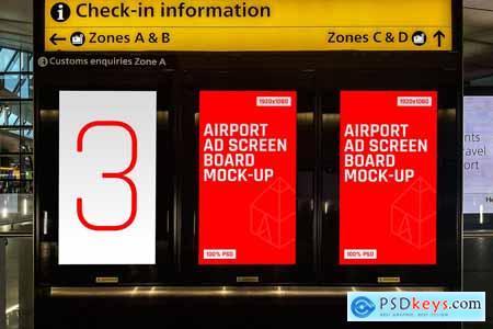 8 Airport Ad Screen Mock-Ups Set