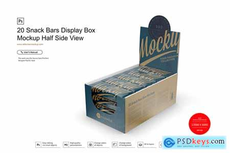 20 Snack Bars Display Box Mockup