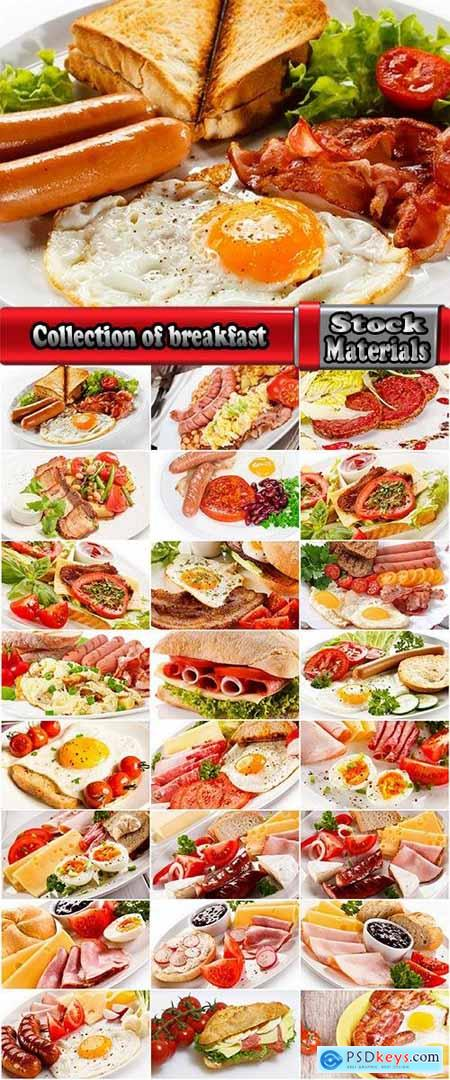 Collection of breakfast eggs bacon sausage salad vegetables 25 HQ Jpeg