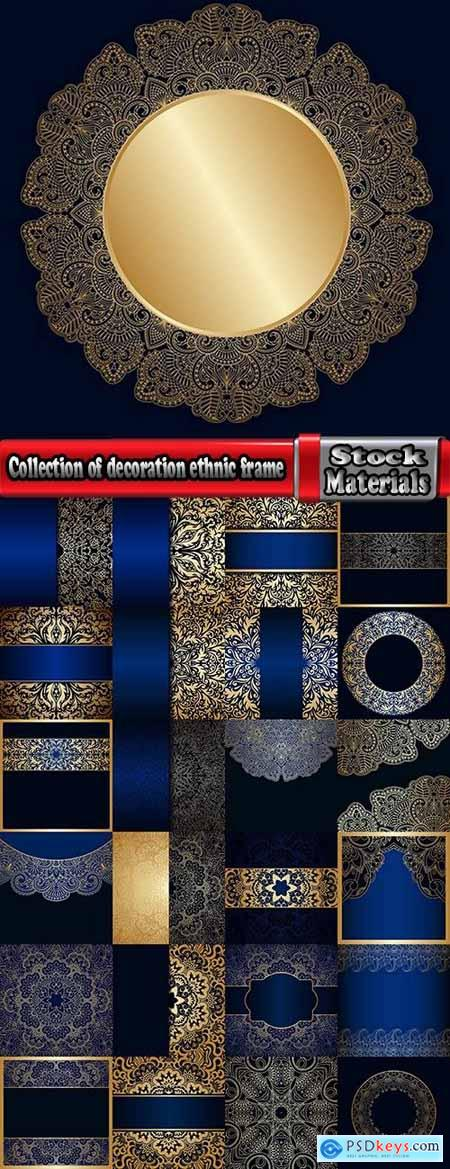 Collection of calligraphic decoration ethnic frame border panel pattern background is cover 25 EPS