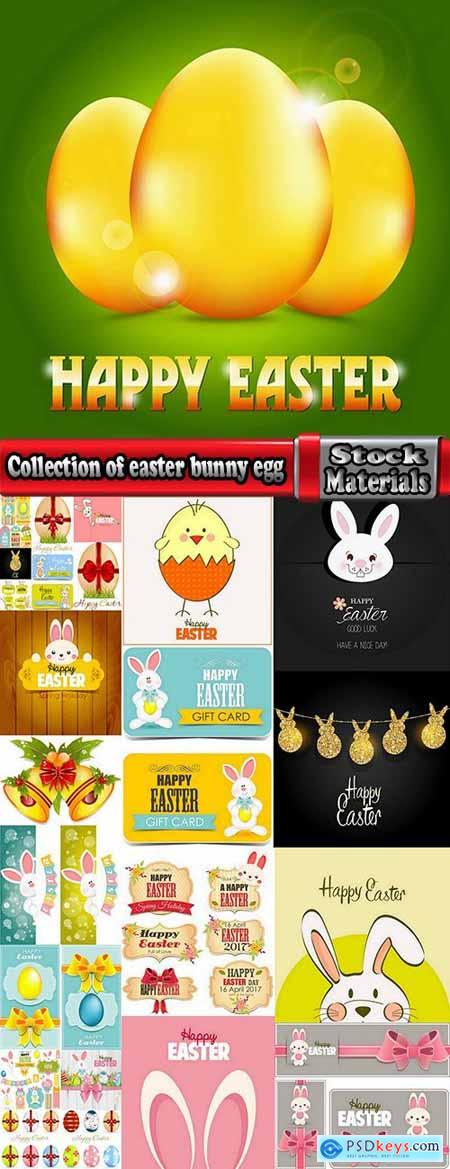 Collection of easter bunny egg flyer banner sticker label invitation card 25 EPS