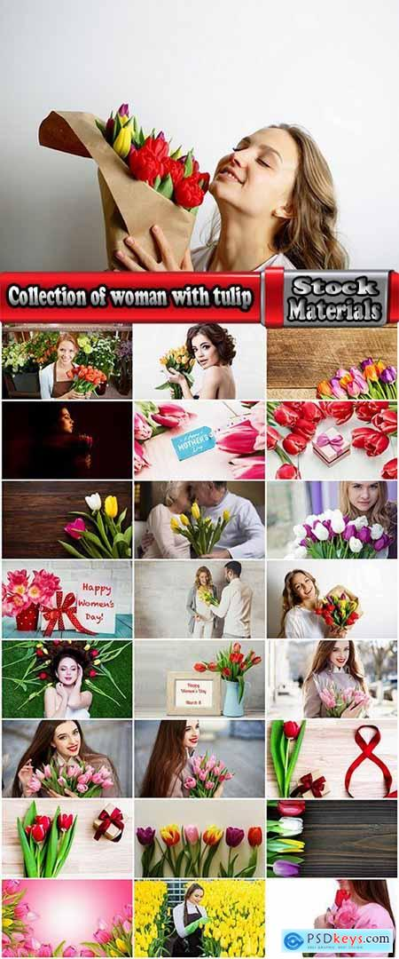 Collection of woman with tulip Mother's Day Women's Day flowers 25 HQ Jpeg