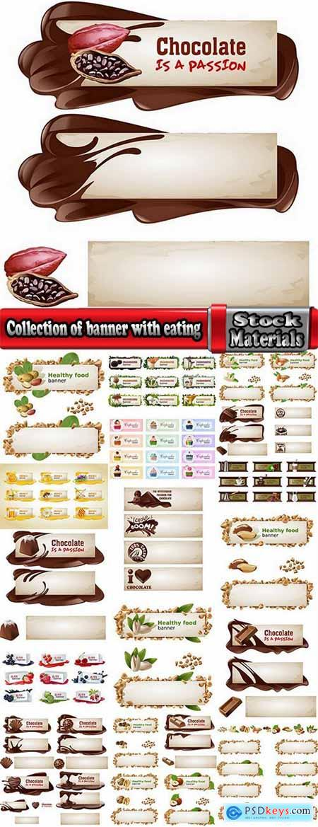 Collection of banner with eating a nut chocolate cake honey vector image 25 EPS