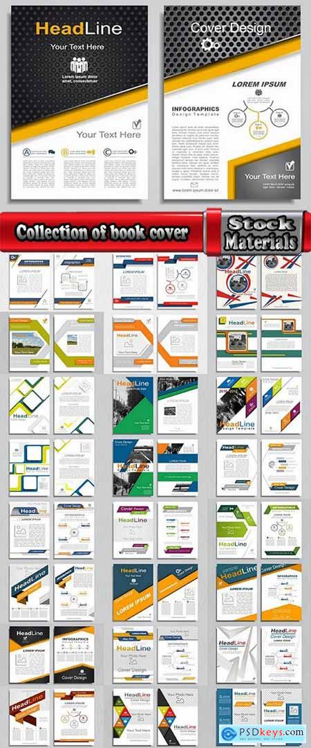 Collection of book cover flyer magazine booklet with infographics vector image 25 HQ Jpeg
