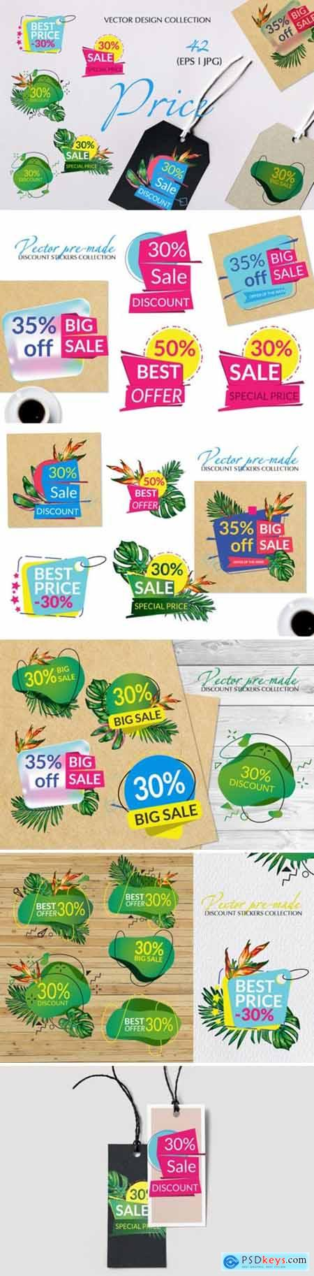 Vector Set of Price Labels