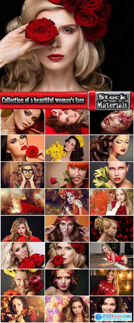Collection of a beautiful woman's face with flowers makeup lips eyes smile 25 HQ Jpeg