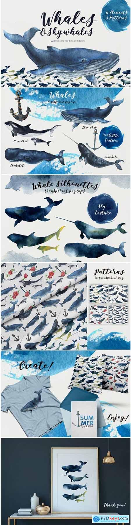Creativemarket Whales and Skywhales. Watercolor 1473208