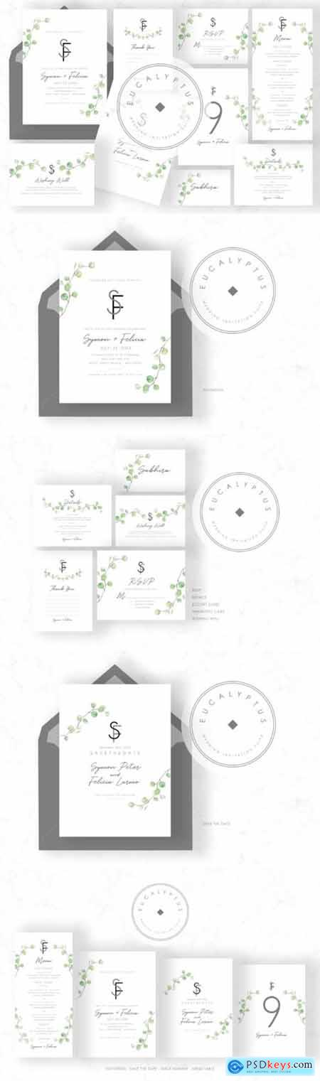 Eucalyptus Wedding Invitation Set