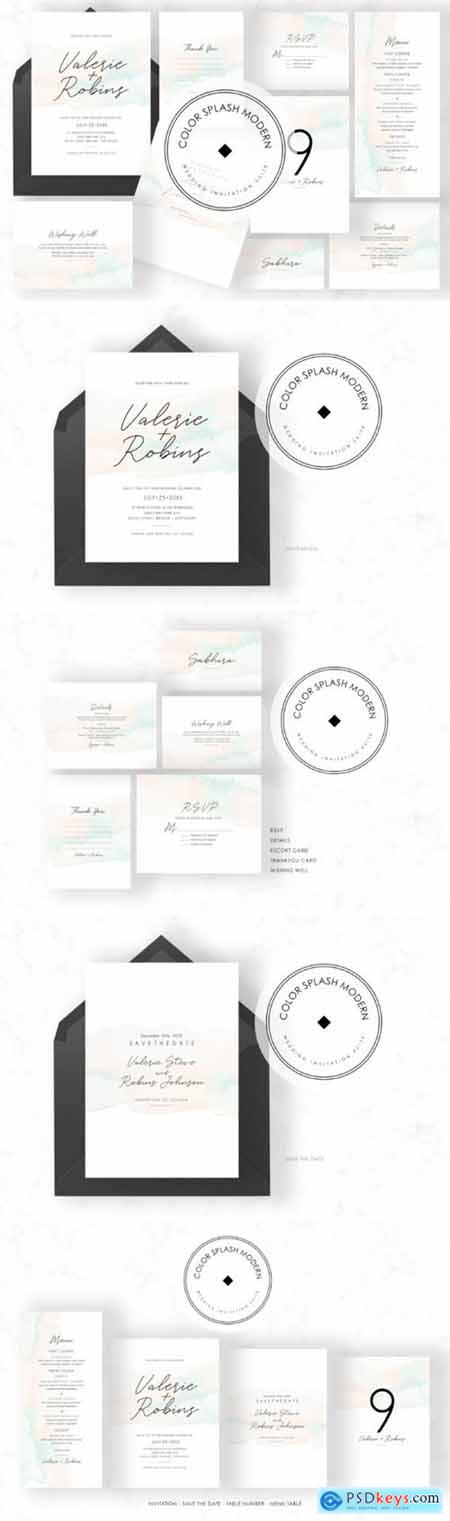 Color Splash Modern Invitation Suite