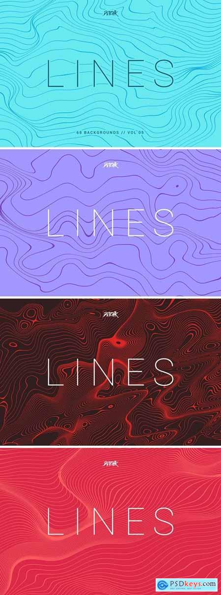 Lines Abstract Wavy Backgrounds Vol. 05