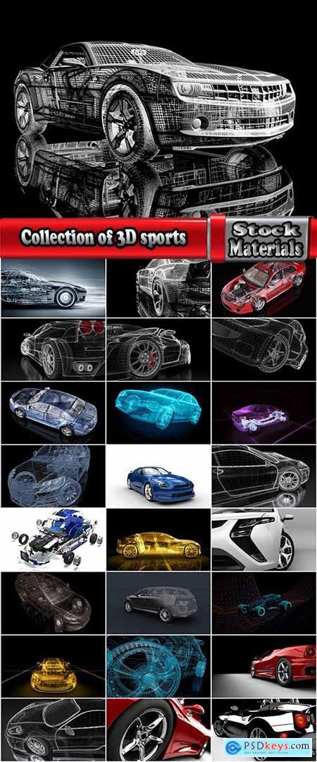 Collection of 3D sports car speed car pattern graphic model 25 HQ Jpeg