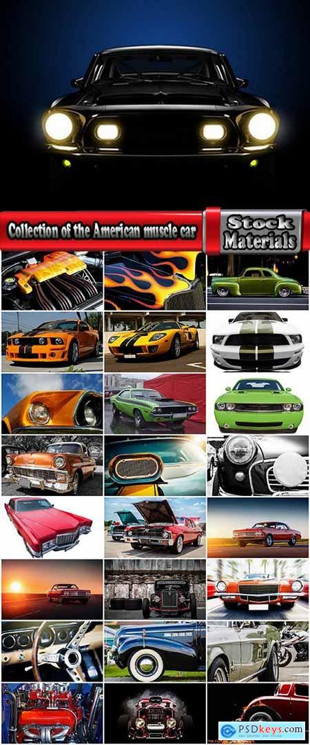 Collection of the American muscle car retro car powerful engine 25 HQ Jpeg