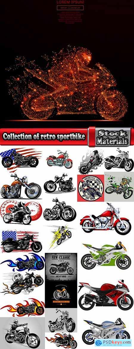 Collection of retro sportbike motorcycle chopper race racer 25 EPS