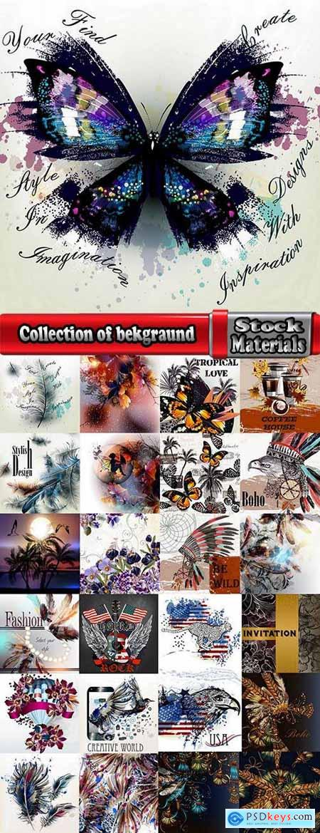 Collection of bekgraund feather flora flowers greeting card gift card the cover 25 EPS
