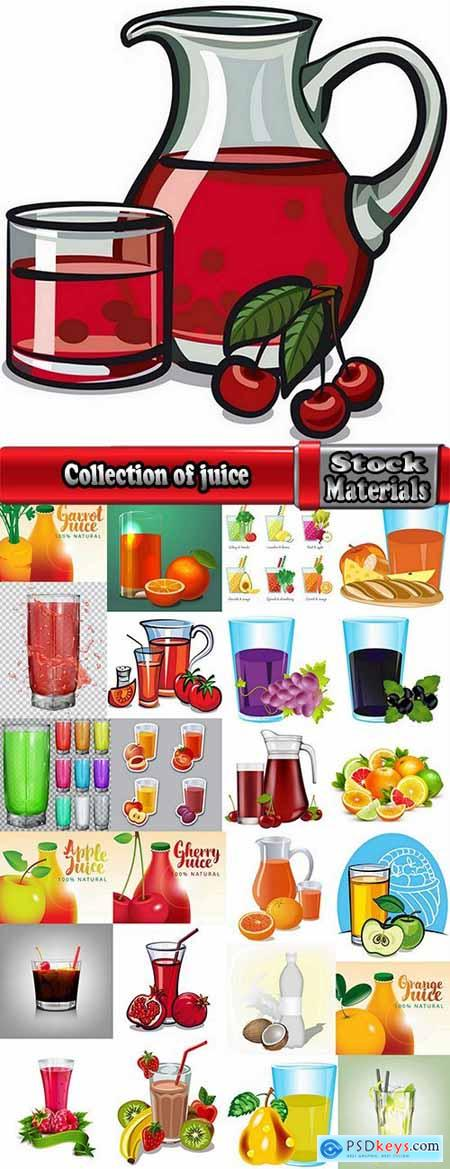 Collection of juice fruits vegetables healthy drink vitamin printing on a postcard 25 EPS