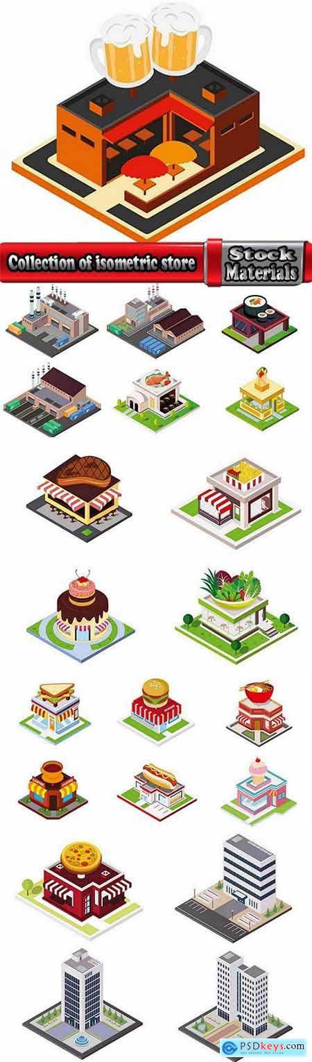 Collection of isometric do skyscraper store booth vector image 21 EPS